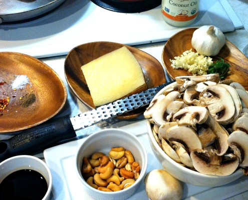 mise en place ingredients mushroom pizza