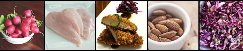 Smoky Almond Crusted Chicken and Red Slaw